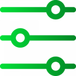 Green lines with circles to look like a sliding scale.