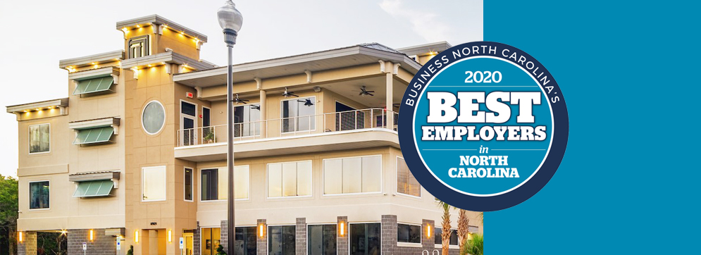 """A banner image, in the left 3 quarters showing the TI building, and the right quarter is just blue. A circle badge connects the two images saying """"Business North Carolina's 2020 Best Employers in North Carolina."""""""